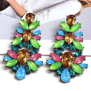 Statement Big Crystals Long Drop Earrings High-grade Fashion Trend Colorful Rhinestone Jewelry Accessories For Women Wholesale wholesale colorful crystals long drop earrings for women fine jewelry accessories dangling pendientes bijoux christmas gift