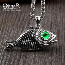 Pendant Evil-Eyes Green Jewelry Fish-Bones Punk-Animals 316l-Stainless-Steel Beier Men