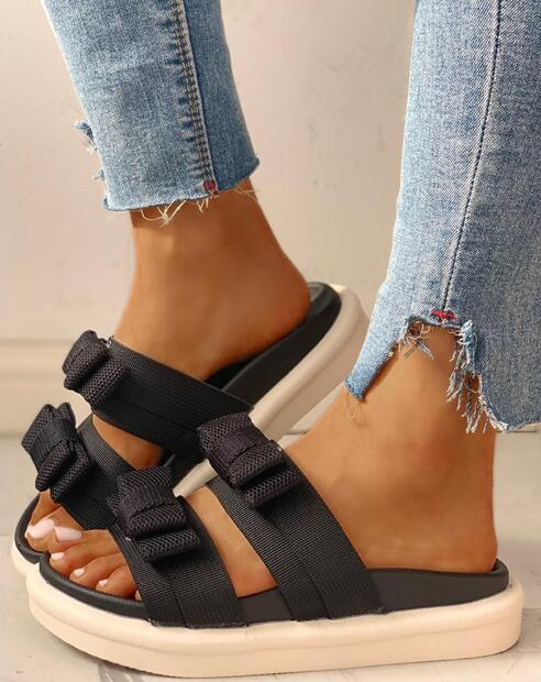 2020 Summer New Shoes Spell Color Bow Platform Slippers Fashion Outer Wear Muffin With Word Sandals Ins Sandalia Feminina