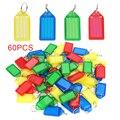 60pcs Plástico Colorido Chave Fobs Correntes Chaves Chave ID Etiqueta de Bagagem de Plástico Tag com Anel de Divisão de Papel Cartão Deslizante capa protetora