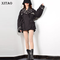 XITAO 2020 Spring New Jacket Women Fashion Trend Rivet Decoration Coat Streetwear Turndown Collar Slim Fit Women Clothes XJ3229