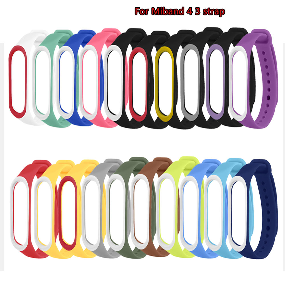 Silicone Smart Band Strap For Xiaomi Mi Band 4 3 Strap Dual Color Replacement Wrist Strap For Miband 4 3 Bracelet Watch Strap