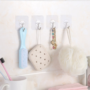 2 pcs Strong Transparent Wall Hooks Kitchen Wall Storage Holder Bathroom Accessories Hanger Multi-function Hook