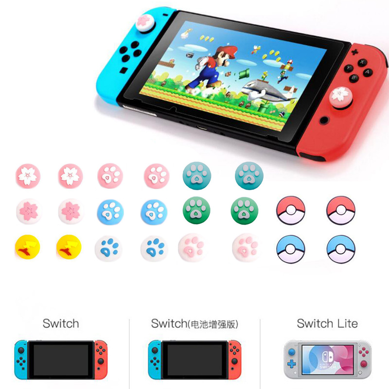 Cute Cat Claw Sakura Thumb Stick Grip Cap Joystick Cover For Nintend Switch Lite NS Joy-Con Controller Gamepad Thumbstick Case