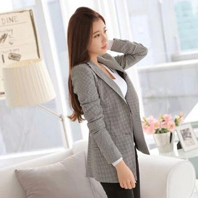 New Plus Size Women Ladies Long Sleeve Work Wear Blazer Casual Female Outerwear Plaid Women Blazers Jackets Suit