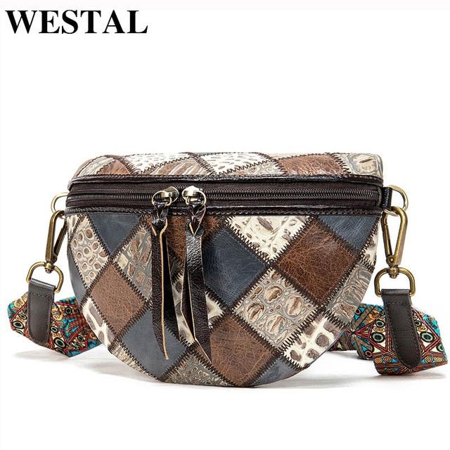 WESTAL sacchetti di spalla delle donne del messaggero del cuoio genuino borse per le donne shell mini crossbody bag patchwork piccolo borse desinger 088