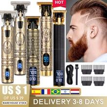 Tondeuse à cheveux électrique pour hommes, rasoir LCD 0mm pour barbier professionnel, Rechargeable, T9 USB