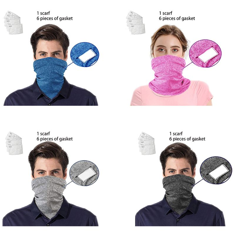 Multifunctional Neck Gaiter With PM2.5 Filters Outdoor Cycling Bandanas Dustproof Sunscreen Half Face Mouth Mask Scarf