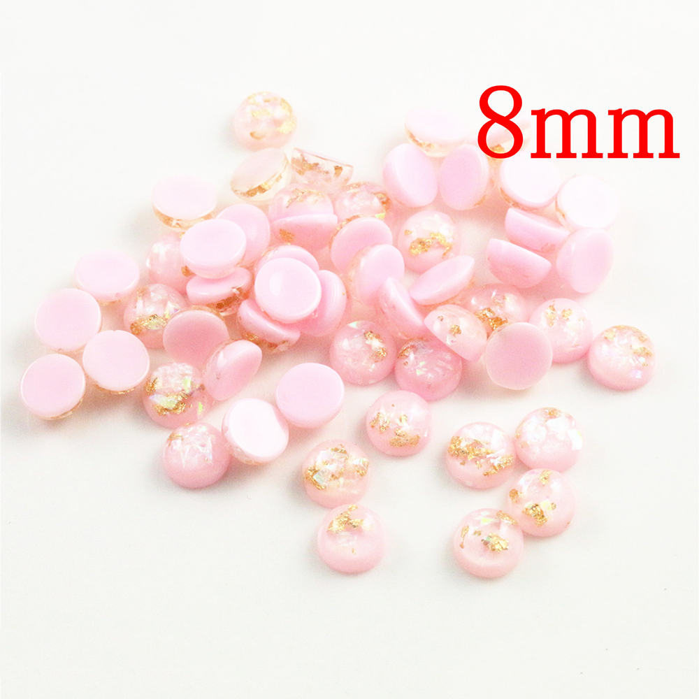 New Fashion 8mm 40pcs/Lot Pink Color Built-in Metal Foil Flat Back Resin Cabochons Cameo V7-32