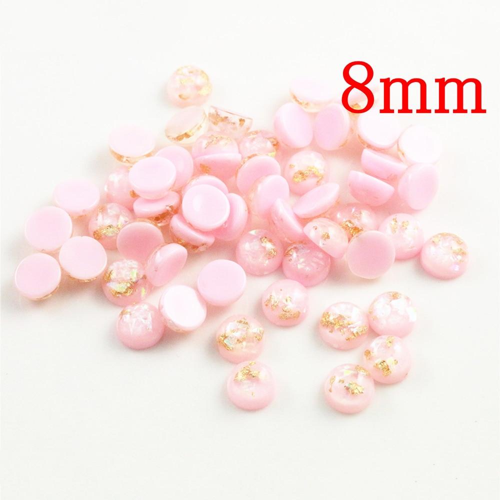 New Fashion 8mm 40pcs/Lot Pink Color Built-in Metal Foil Flat Back Resin Cabochons Cameo V7-32