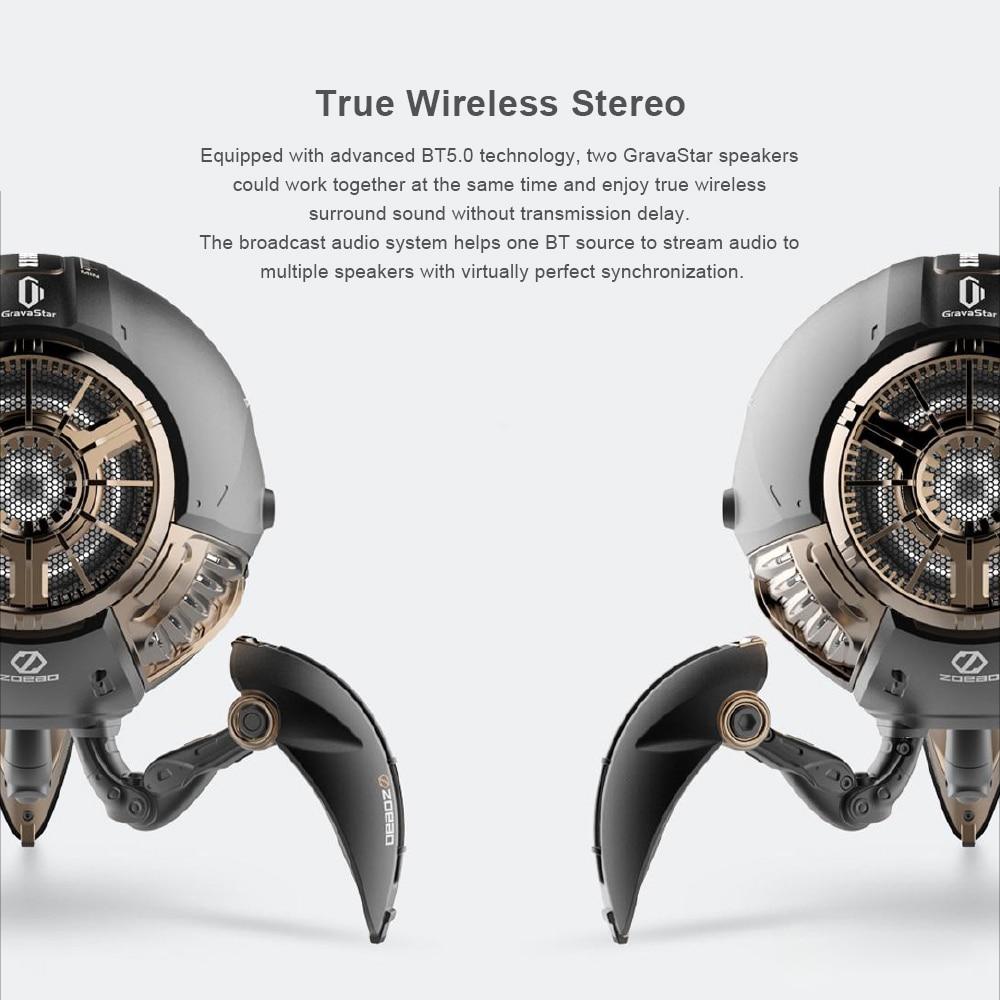 GravaStar G1 BT 5.0 Wireless Stereo Speaker Outdoor Portable Folding Speaker Ambient Light Broadcasting Long Battery 30 Hours