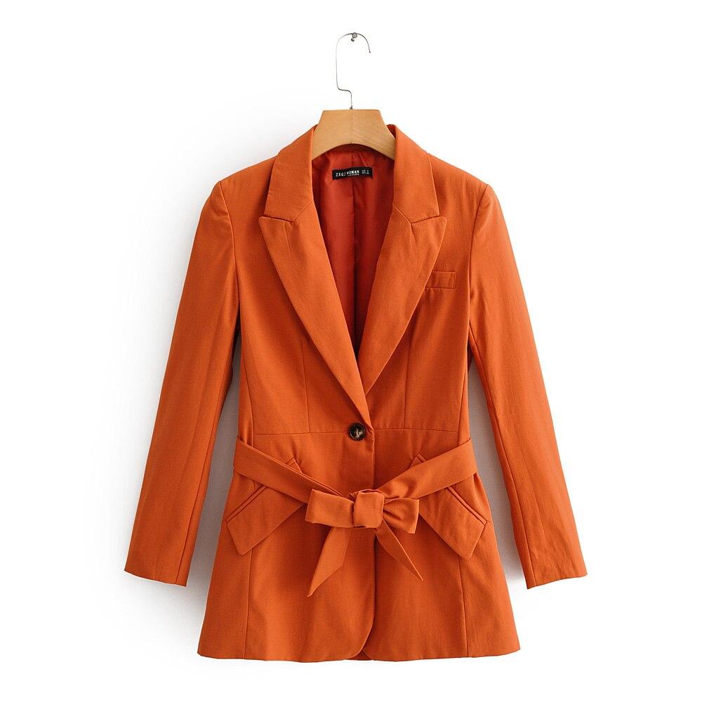 Women Blazers Orange SML Peak Lapel Belt Free Bowtie Cuff Button Slant Pockets Centre Back Vent Drop Shipping