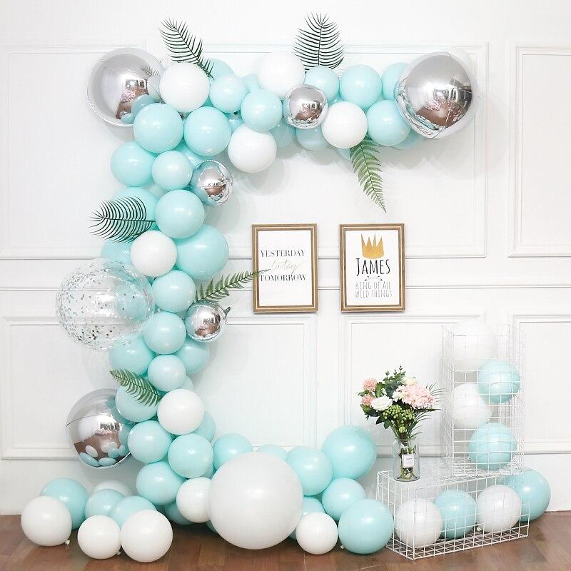 100pcs/Set Tiffany Blue Macaroon Balloon Arch Kit Baby Wedding Birthday Party Macaron Latex Confetti Balloons Garland Decor