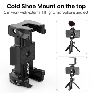Image 3 - Ulanzi ST 15 Arca Swiss Quick Release Plate Foldable Phone Clamp Holder 2 in 1 Design With Cold Shoe 1/4 Screw Tripod Mount