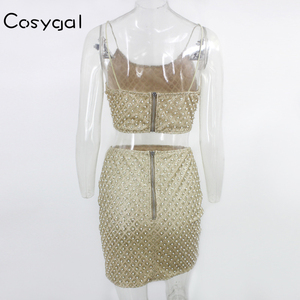 Image 5 - COSYGALสปาเก็ตตี้Shiny Sequined Clubชุดเซ็กซี่2ชิ้นชุดผู้หญิงไข่มุกTopsและกระโปรงชุดNight Party 2ชิ้นชุด