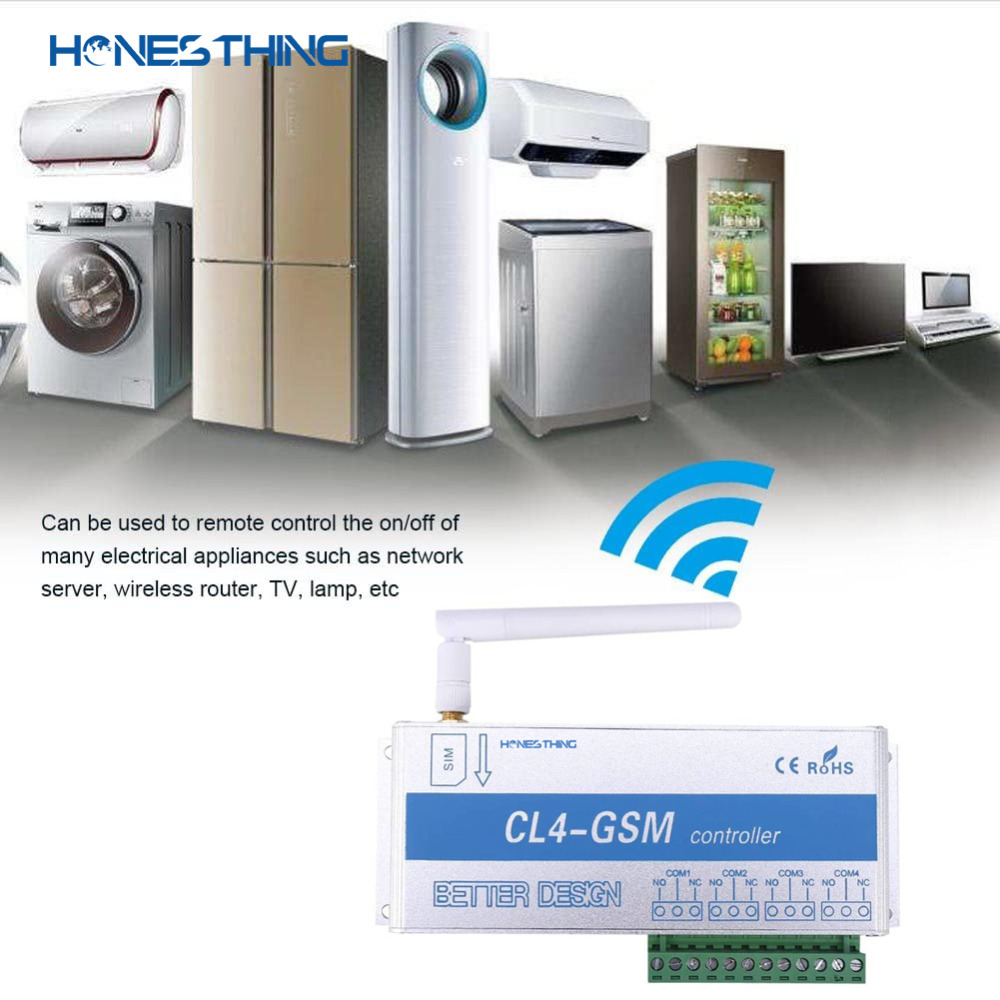 HonesThing GSM SMS Remote Switch Controller 4 Channel Relay Output Garage Gate Operate by Free Phone Call APP CL4-GSM 5