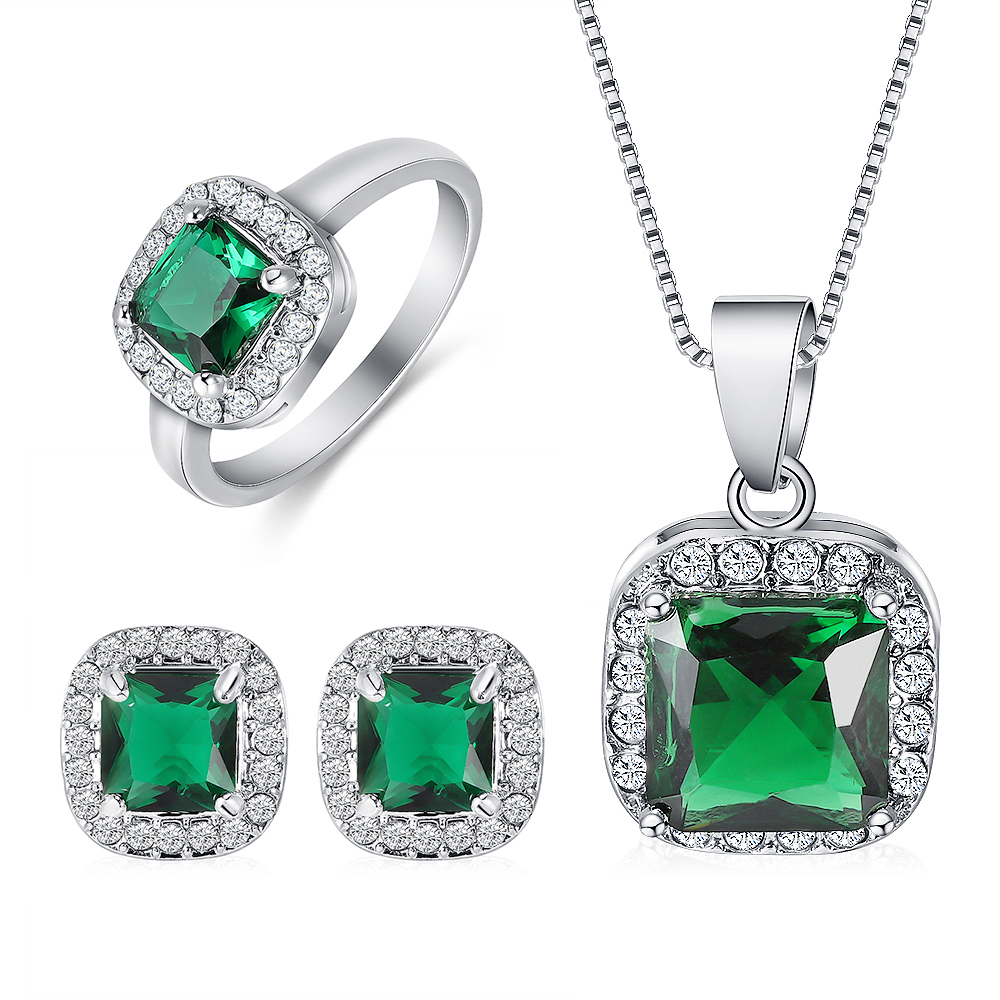 Women Fashion 3Pcs Silver Plated Jewelry Sets Elegant Crystal Pendant Necklace Stud Earring Ring Wedding Jewelry Sets