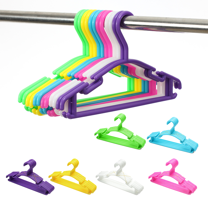 10Pcs/Lot Portable Clothes Hanger Kids Children Toddler Baby Clothes Coat Plastic Hangers Hook Household Organizer Solid Color