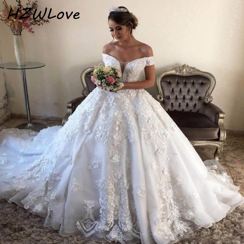 Excellent Ball Gown Wedding Dresses With Lace Appliques Long Train Off The Shoulder Vestido De Noiva Lace Up Back Bridal Dress