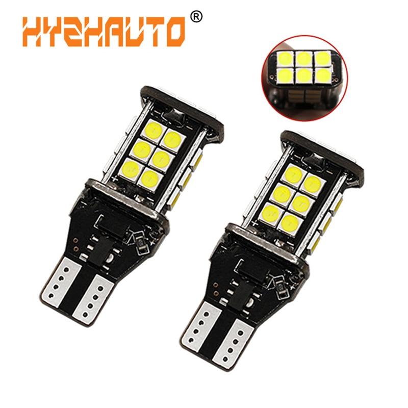 HYZHAUTO-ampoules de recul pour voiture | T15 921 W16W, ampoule de voiture, Canbus blanc, aucune erreur, 24 SMD 3030,, phares Auto supplémentaires 12V, 2 pièces