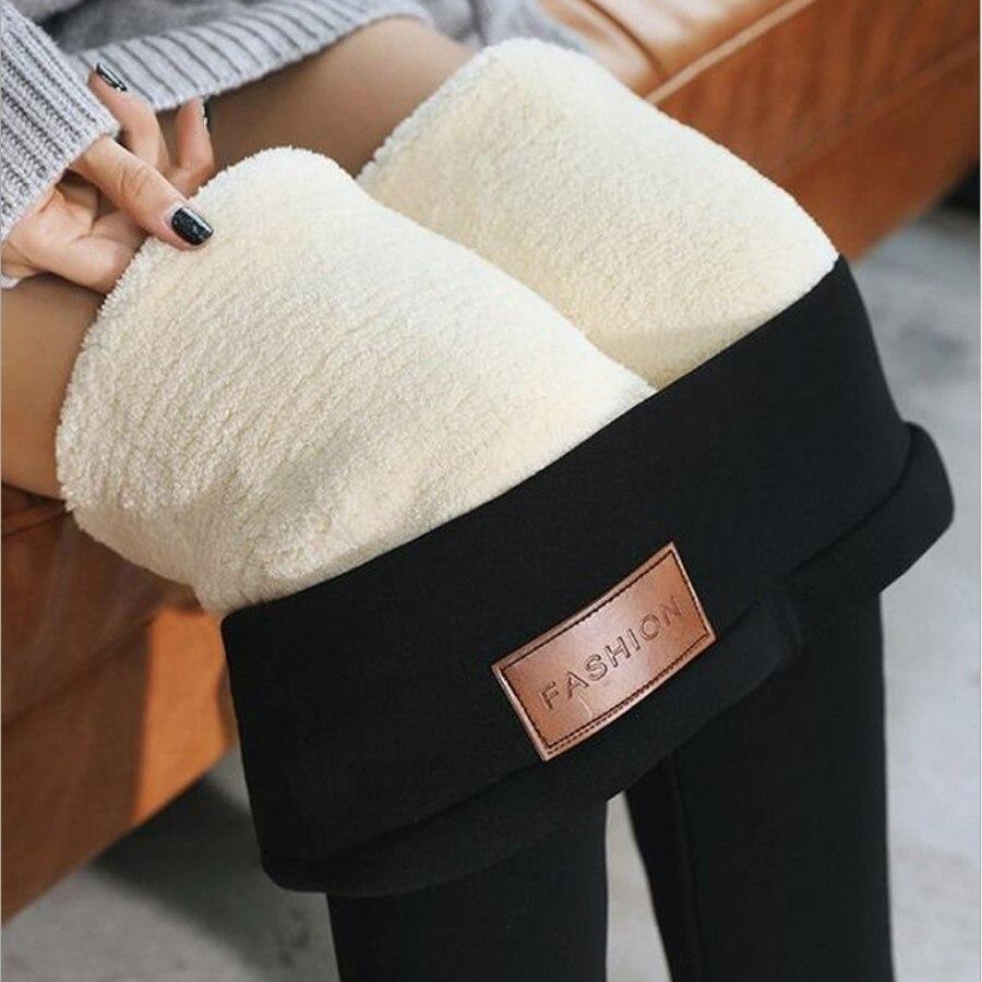 Russian Winter Thicken Velvet Leggings Women Lambswool Cashmere Warm Workout Leggings High Waist Winter Pants Leggings Plus Size