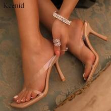 Kcenid nouveau PVC transparent pantoufles femmes talons hauts été pantoufles tongs pour les femmes sexy bout carré clair sandales chaussures
