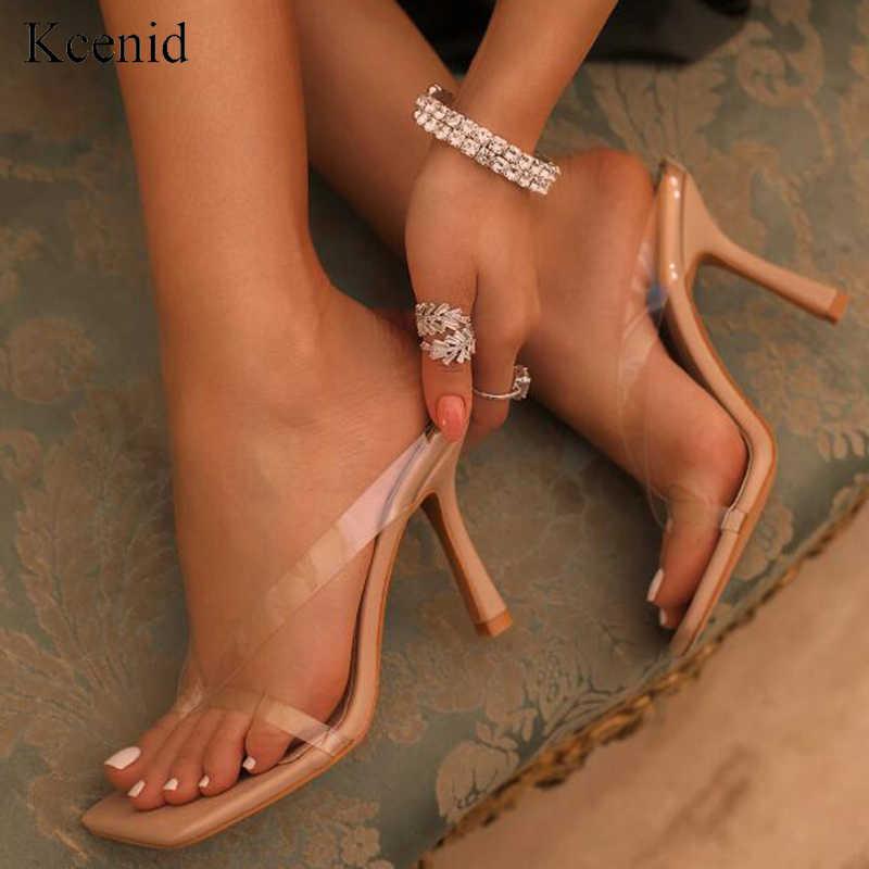 Kcenid novo pvc transparente chinelos de salto alto das mulheres chinelos de verão chinelos flip flops para as mulheres sexy dedo do pé quadrado claro sapatos