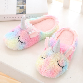 BONJEAN multicolor unicorn slipper cortoon rainbow comy home indoor warm slipper Cartoon Plush Slippers women animal slipper winter cartoon indoor warm plush santa slippers women men children s christmas style home slipper fit christmas gifts