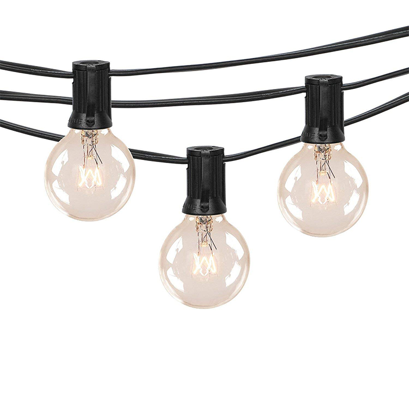 25Ft Outdoor Patio String Lights with 25 Clear Globe G40 Bulbs,for Patio Porch Backyard Deck Bistro Balcony Wedding Gathering Pa