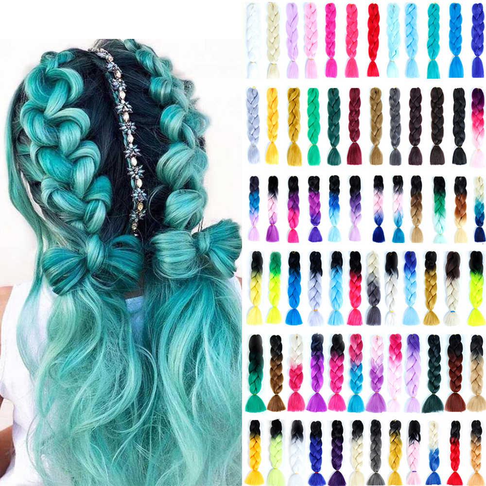QIANJI 100 г/шт. 24 дюйма один Омбре цветной синтетический парик расширение крючком Твист крупное плетение Kanekalon волос