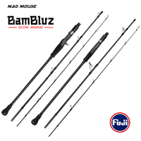 MADMOUSE BamBluz Japan Full Fuji Parts 3 Section Portable Slow Jigging Rod 1.9M Shipping/casting Corss Carbon Ocean Boat Rod