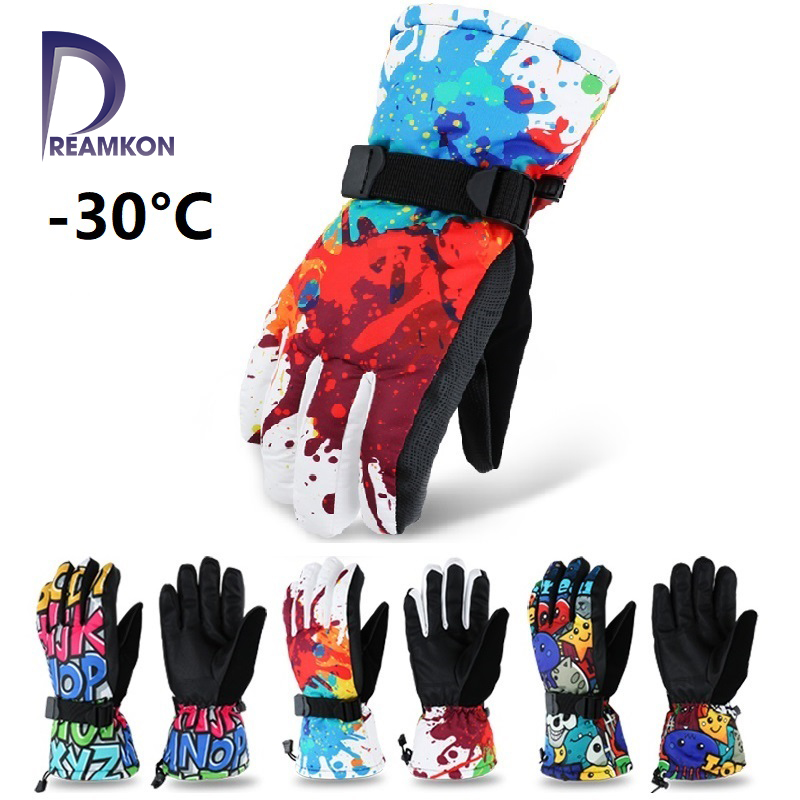 As Fish Winter -30 Thicken Ski Gloves Men Women Children Windproof Waterproof Adjustable Snowboard Climbing Snow Gloves