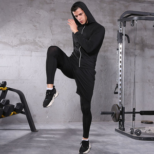 Image 4 - Men Sportswear Compression Sport Suits Breathable Gym Clothes Man Sports Joggers Training Gym Fitness Tracksuit Running Sets 3XL