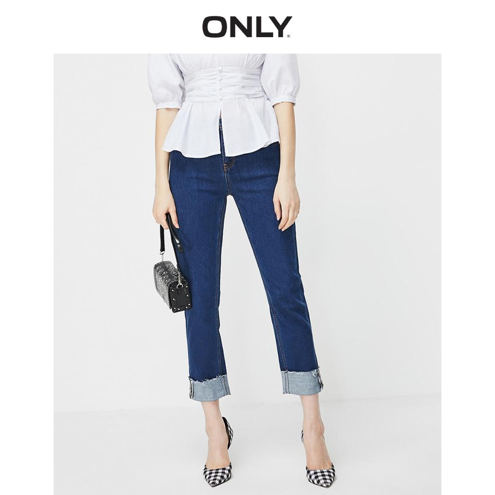 ONLY Women's Frayed Roll-up Crop Jeans | 119149533