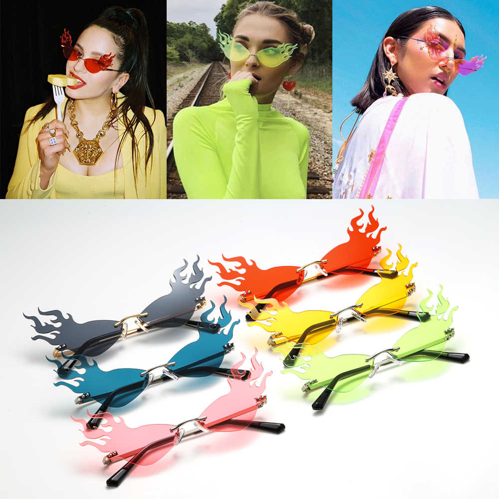 Mode vague de feu flamme lunettes de soleil femmes hommes sans monture lunettes de soleil lunettes de luxe tendance large côté fête lunettes de soleil Streetwear