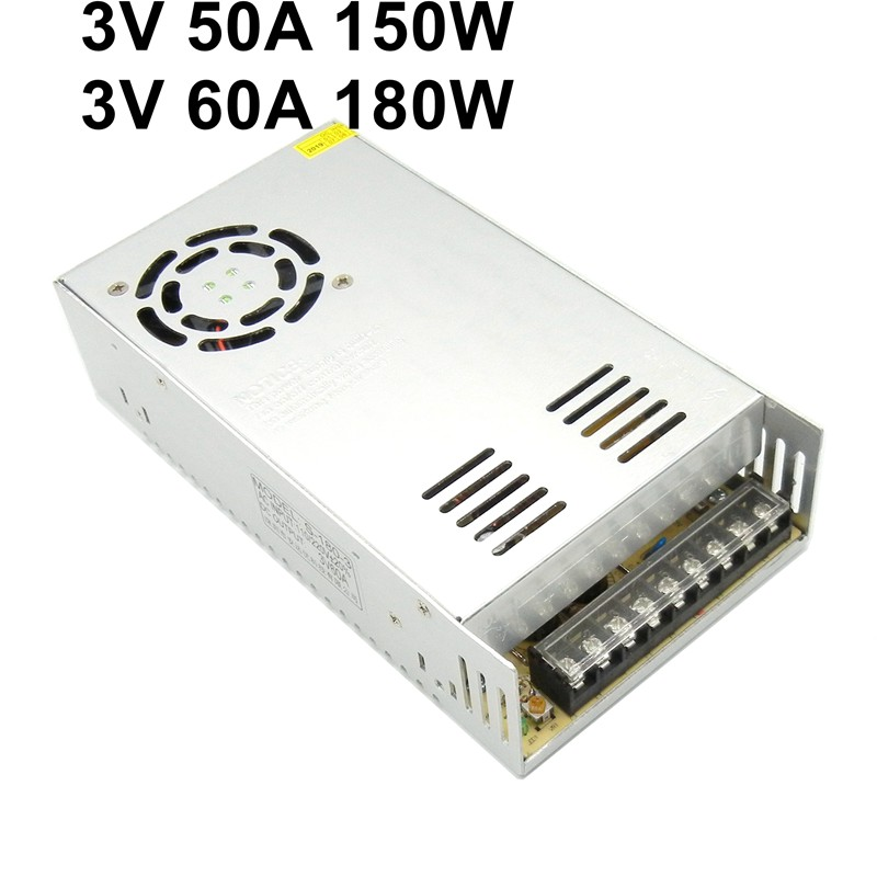3V 50A 60A regulated switching power supply 110V 220V ac to dc transformer 150W 180W  industrial monitoring system switch driver