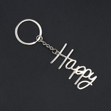 Creative Metal Glossy English Letter Happy Keychain For Men Car Key chain Accessories Business Gifts