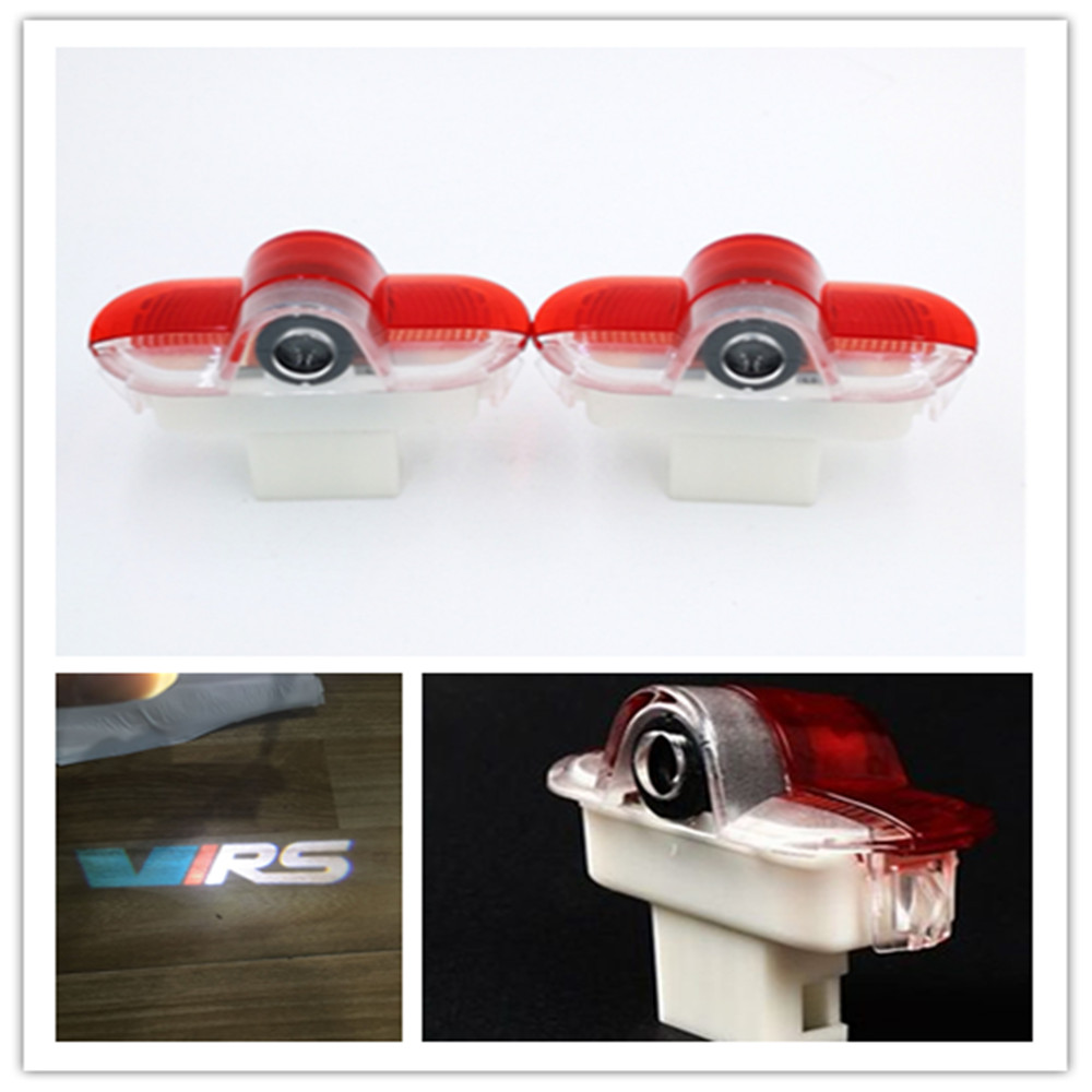2pcs LED Car Logo Door Welcome Light For Skoda Octavia A5 2007 -2013 Ghost Shado  Projector Lamp Car Styling