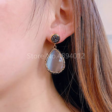 5pairs,Natural Stone Earrings,Fashion Jewelry,The Pear Shape for Women,5Colors,Can Wholesale character silver product s925 pure silver jewelry fashion earrings wholesale handmade lady hetian jade earrings