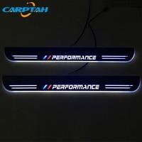 CARPTAH 트림 페달 자동차 외장 부품 LED 도어 씰 스커프 플레이트 통로 동적 스 트리머 라이트 BMW X1 E84 F48 2009 - 2018