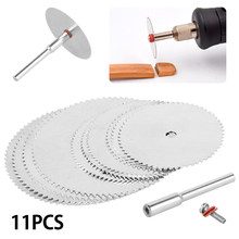 11pcs Mini Circular Saw Blade Set Ultra Thin Adapter Cutting Disc Mandrel Trunk Accessories for Dremel Wood Steel 22mm 25mm 32mm