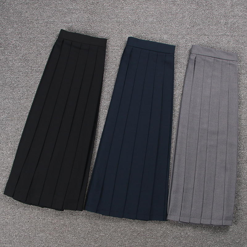 School Dresses Sailor Suit Plain Pleated Skirt  Jk Uniforms Cosplay College Middle School Costume Black Blue Gray Short Skirt