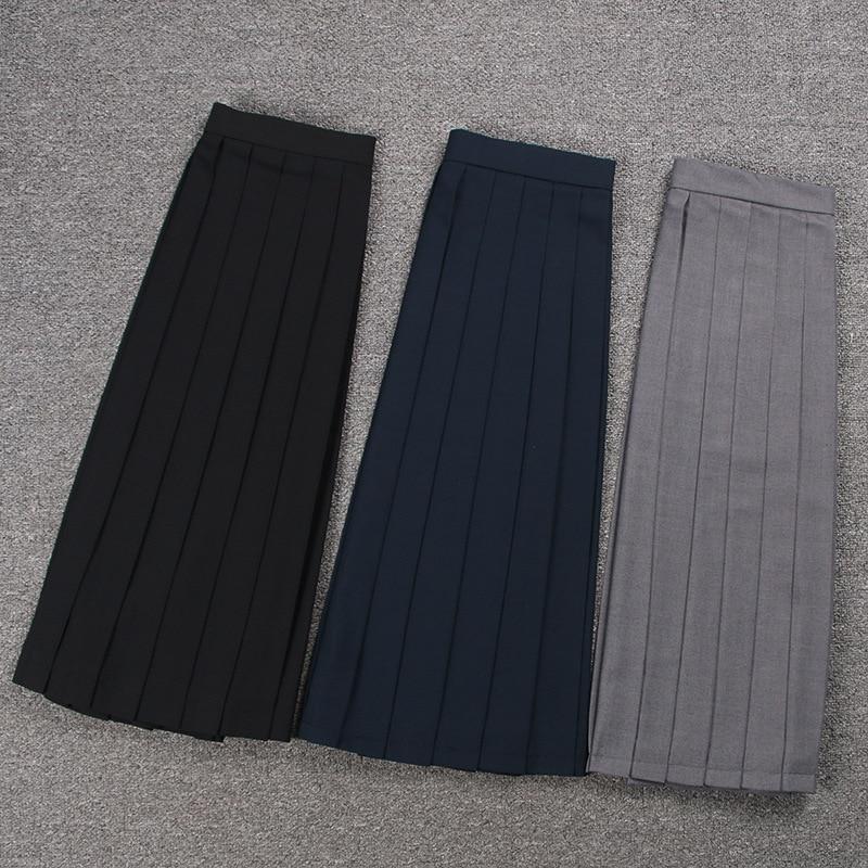 School Dresses Sailor Suit Plain Pleated Skirt  Jk Uniforms Cosplay College Middle School Costume Black Blue Gray Short Skirt