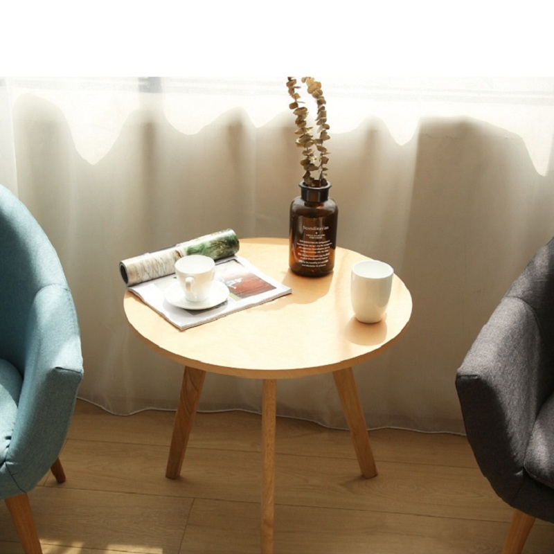Solid Wood Simple Round Coffee Table  Tea Table  Nordic Ins Style Table Balcony Living Room Simple Mini Corner Coffee Table