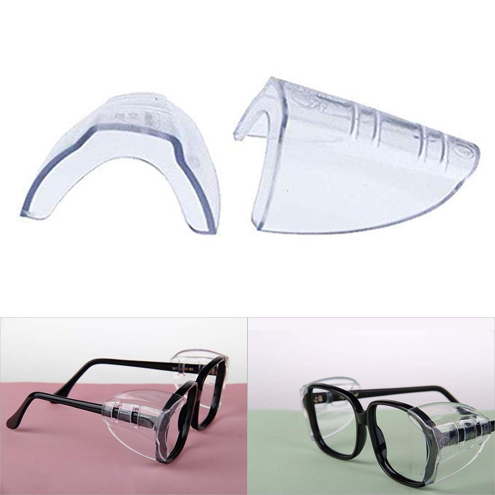 2Pcs Safety Eye Glasses Side Shields Non-toxic Clear Flexible Glasses Side Shields Plastic Glasses Safe Protection