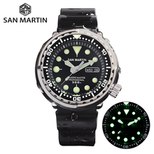 San Martin Tuna SBBN015 Diver Automatic Men Watch Stainless Steel Fluoro Rubber Calendar Week Display Ceramic Bezel Sunray Dial
