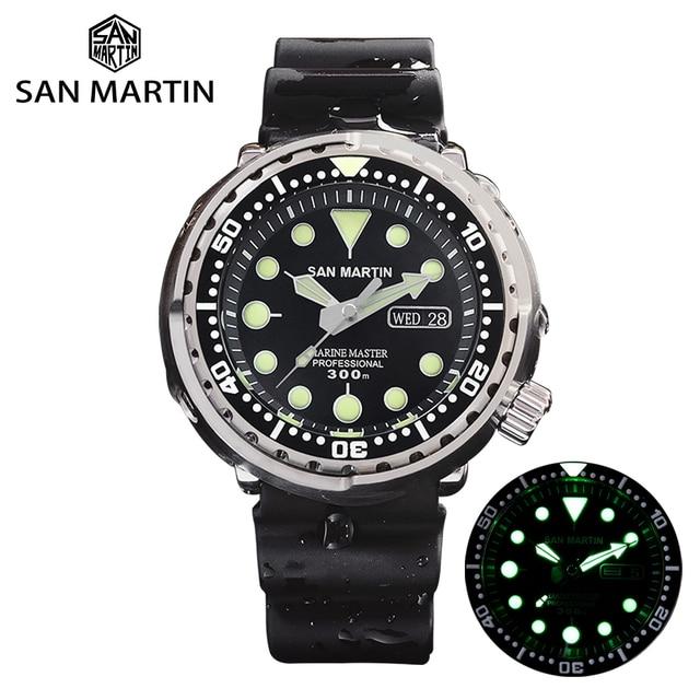 San Martin Tuna SBBN015 Diver Automatic Men Watch Stainless Steel Fluoro Rubber Calendar Week Display Ceramic Bezel Sunray Dial