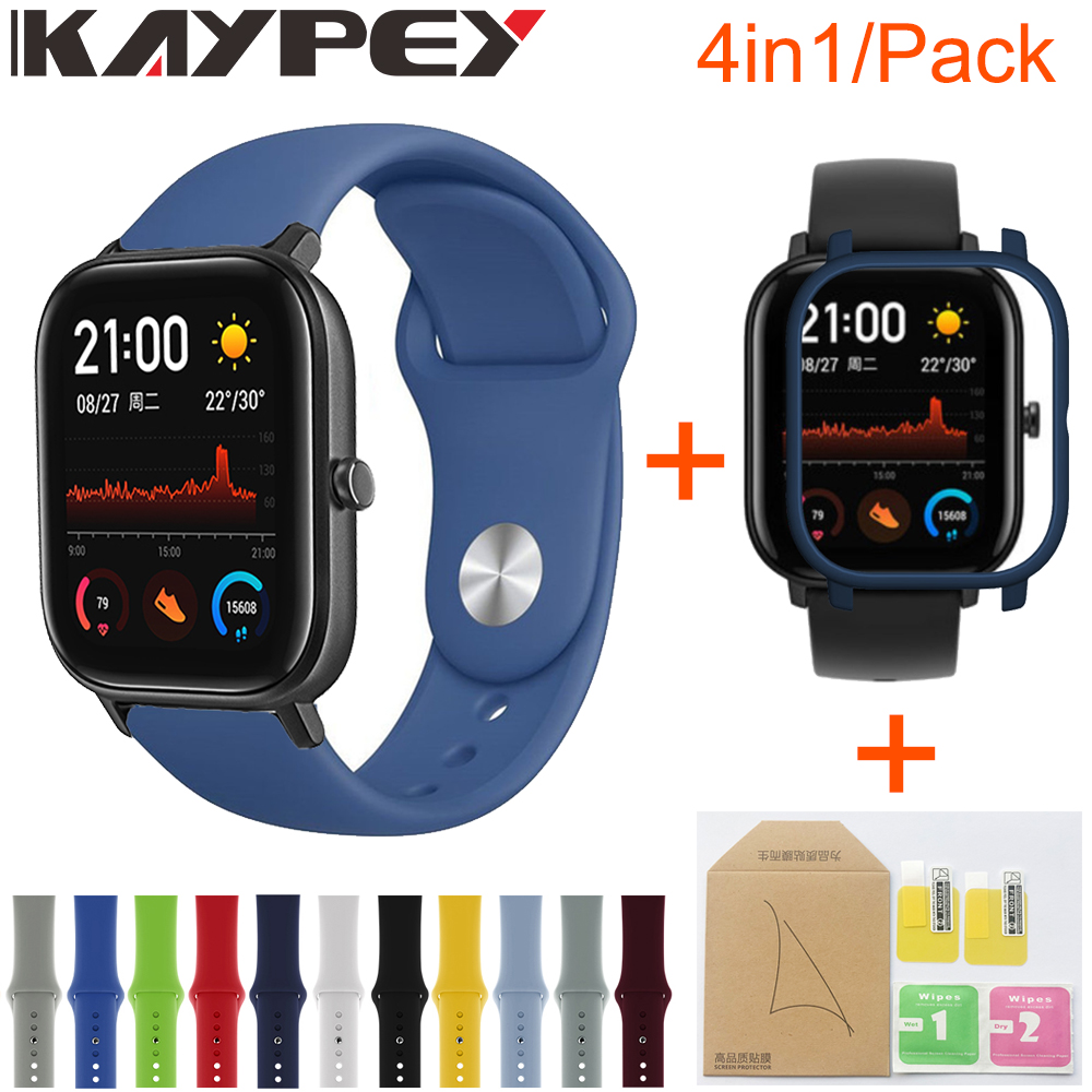 4in1 For Xiaomi Huami Amazfit GTS Strap Soft Silicone Sports Wristband Smartwatch Bracelet With PC Case Cover Screen Protector