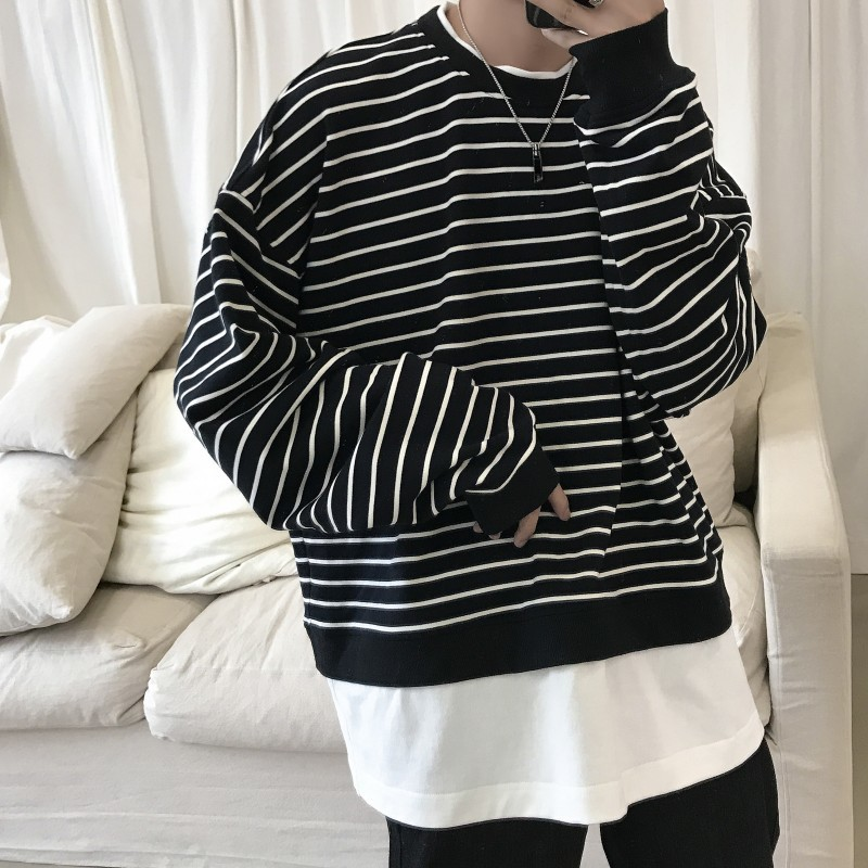 Fake Two Striped Hoodies Men's Fashion Casual O-neck Sweatshirt Men Streetwear Wild Loose Hip Hop Hoodie Mens Hoody M-2XL