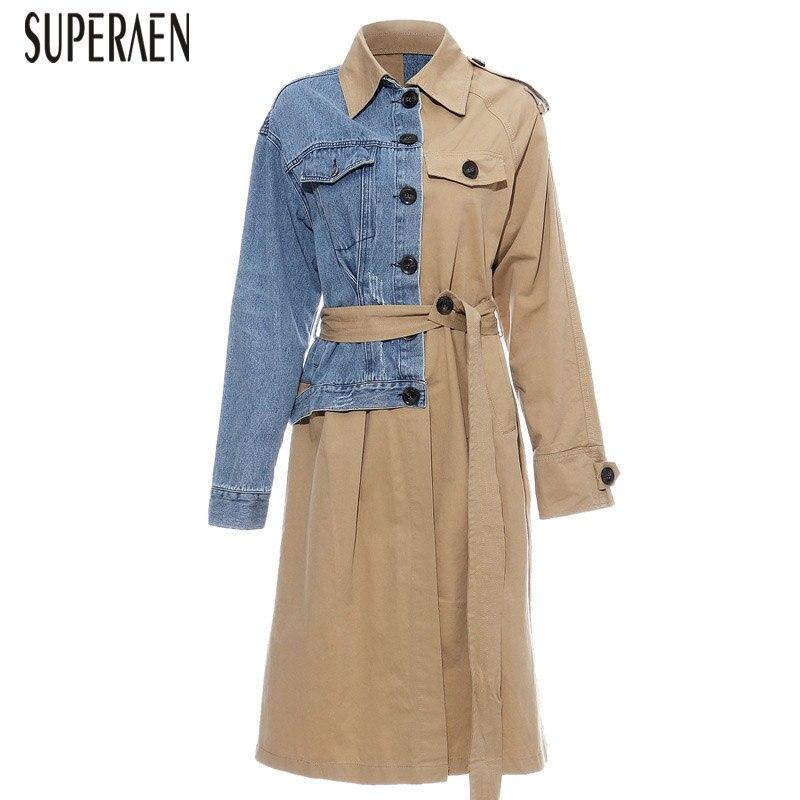 SuperAen Europe Trench Coat For Women 2019 Autumn New Stitching Denim Windbreaker Female Fashion Casual Women Clothing